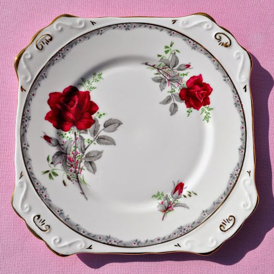 Royal Stafford Roses to Remember Vintage China Cake Plate c.1952