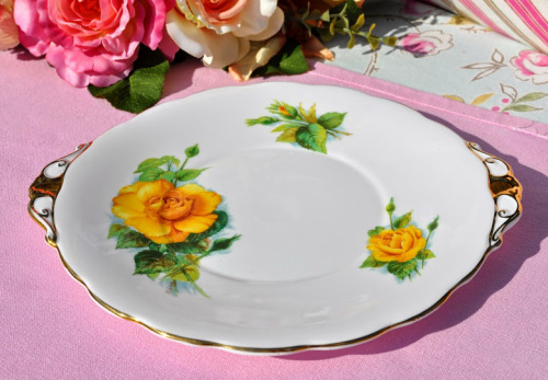 Roslyn World Famous Roses Mme Ch Sauvage Vintage China Cake Plate