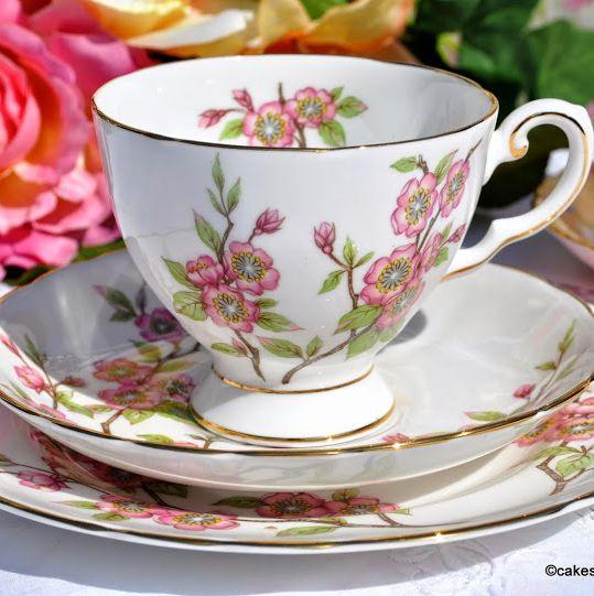 Tuscan Springtime Fine Bone China Teacup, Saucer, Tea Plate