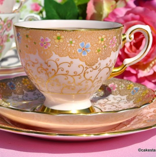 Tuscan Pink Fine China Tea Trio with Gold and Hand Painted Flowers