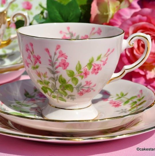 Tuscan Pink Fine Bone China Vintage Tea Trio with Pink Flowers