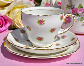 Duchess Melody Ditsy Pink Roses Pattern Vintage Bone China Teacup Trio c.1960s