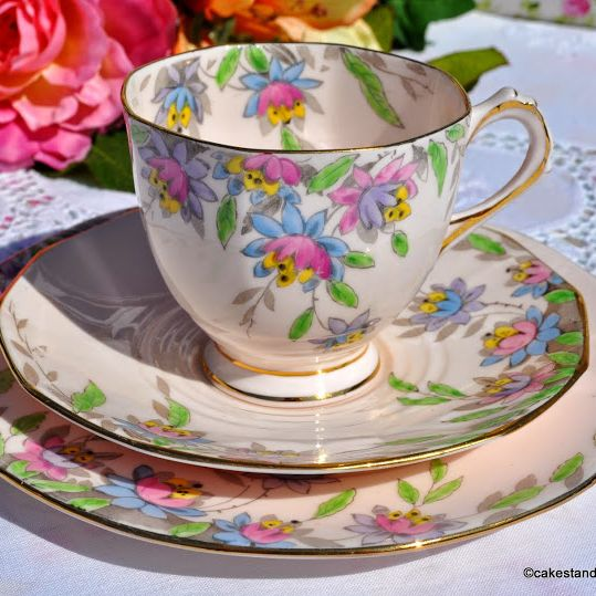 Tuscan Art Deco 5013H Hand Painted Floral China Teacup Trio c.1936+