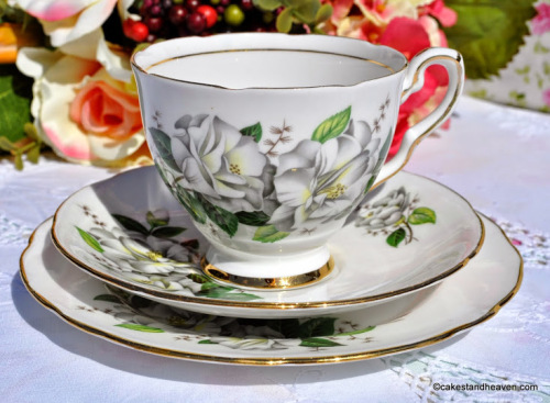 Royal Stafford Camellia Vintage China Teacup Trio c.1950s