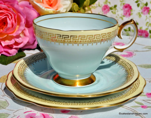 Queen Anne Duck Egg and Cream Vintage Teacup Trio c.1950s