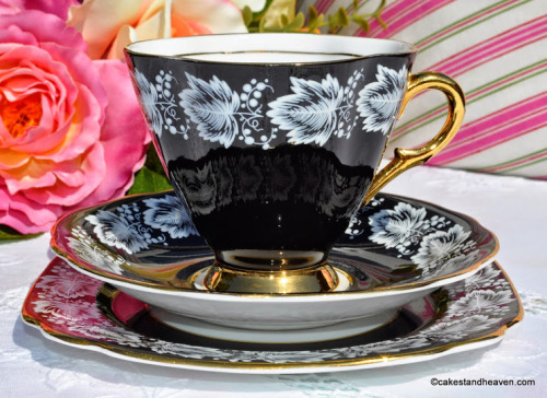 Windsor White Enamel on Black Vintage China Teacup, Saucer and Tea Plate c.