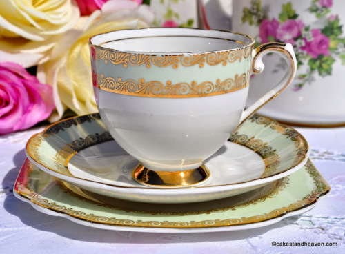 Stanley China Green and Gold Vintage Teacup, Saucer, Tea Plate
