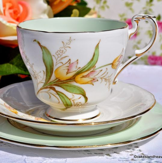 Paragon Green and Yellow Lily Fine Bone China Vintage Tea Trio