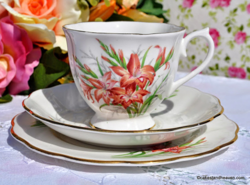 Royal Albert Friendship Series Gladiolus Vintage Tea Trio