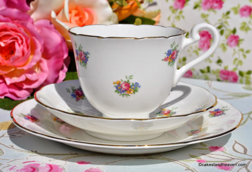 Radfords Disty Flowers Vintage Teacup, Saucer, Tea Plate
