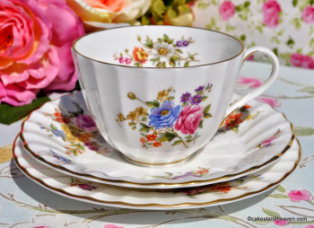 Royal Worcester Roanoke Vintage China Teacup, Saucer, Tea Plate Trio