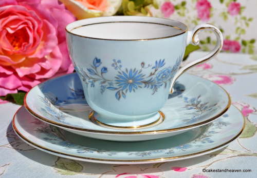 Aynsley Pale Blue Floral Vintage Teacup, Saucer, Tea Plate
