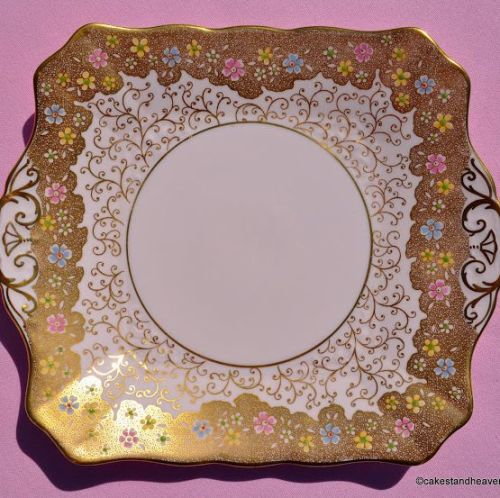 Tuscan Gold and Pink Fine Bone China Cake Plate
