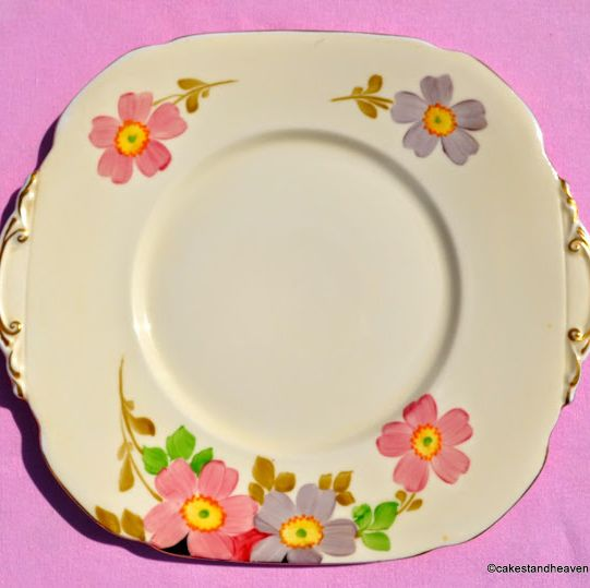 Roslyn China Hand Painted Vintage Cake Plate c.1937-46