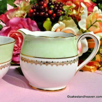 Roslyn China Vintage Green and Gold Milk Jug and Sugar Bowl
