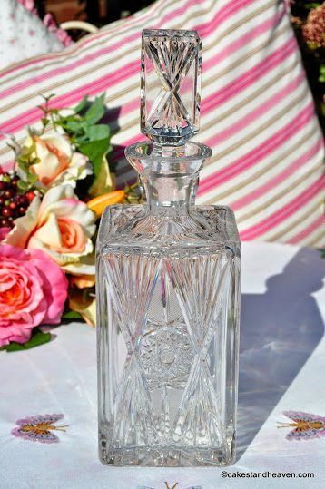 Vintage Lead Crystal Square Shouldered Decanter with Star Design