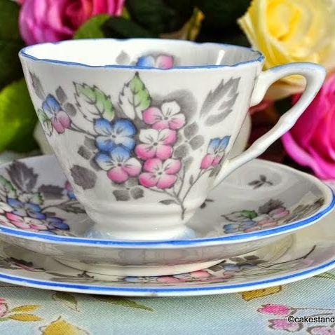Royal Stafford Vintage Pink and Blue Floral Teacup Trio c.1952