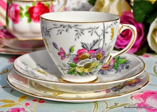 Old Royal Vintage Hand Painted Floral China Teacup Trio