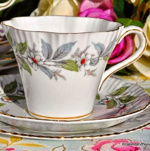 Salisbury Strawberry Fair Pattern China Teacup Trio c.1961+