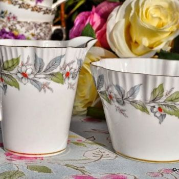 Salisbury Strawberry Fair Pattern Vintage Eggshell China Milk Jug and Sugar Bowl