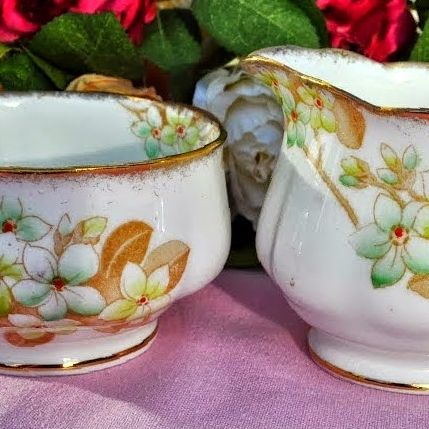Royal Albert Crown China Floral Hand Painted Milk Jug and Sugar Bowl c.1927