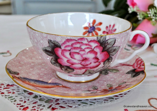 Wedgwood Pink Floral China Teacup and Saucer