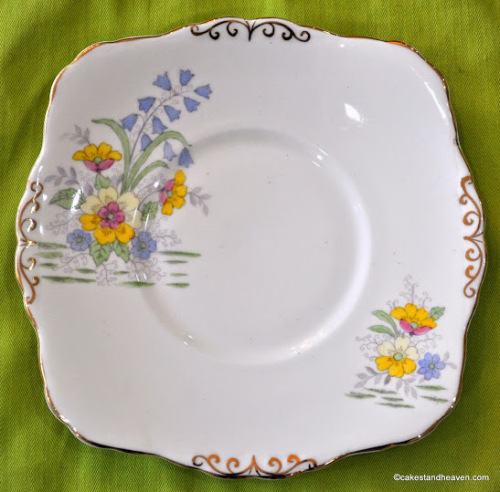 Wellington China 1930's Hand Painted Floral Cake Plate