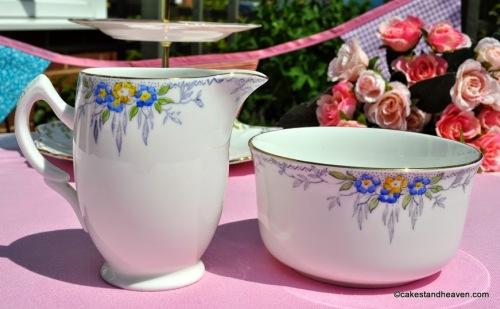 Hand Painted English Blue Floral China Milk Jug and Sugar Bowl