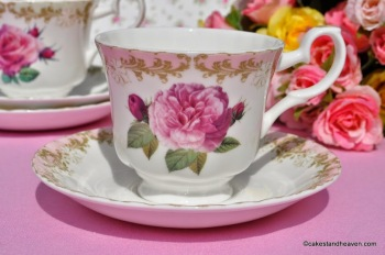 Vintage Rose Pink Rim Bone China Teacup and Saucer