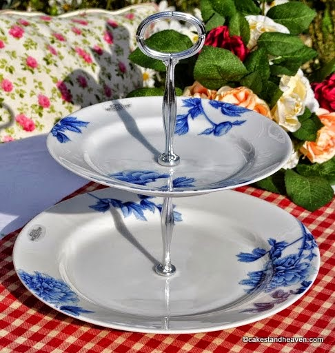 Royal Worcester Blue Peony Fine Porcelain 2 Tier Cake Stand