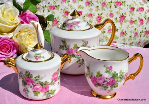 Stanley China Old English Roses Teapot Set c.1930s