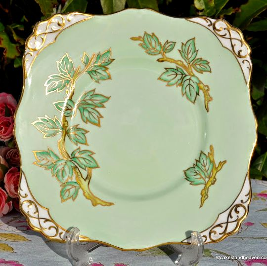 Tuscan Pale Green and Gold Vintage China Cake Plate