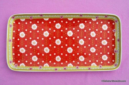 Veronique New Red Floral Bone China Cake, Sandwich or Biscuit Tray