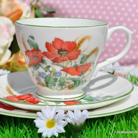 Duchess Poppies Vintage Teacup, Saucer and Tea Plate