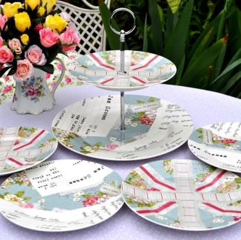 Patchwork Pattern 2 Tier Cake Stand and Plates Set