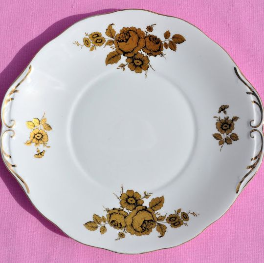 Royal Imperial Gold Floral Bone China Cake Plate c.1940's