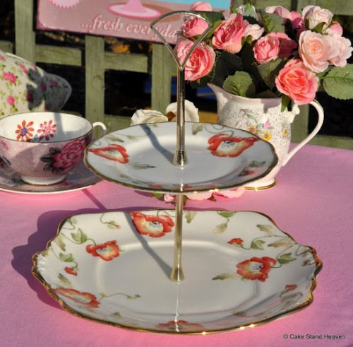 Royal Albert Poppy 1970's Style 2 Tier Cake Stand