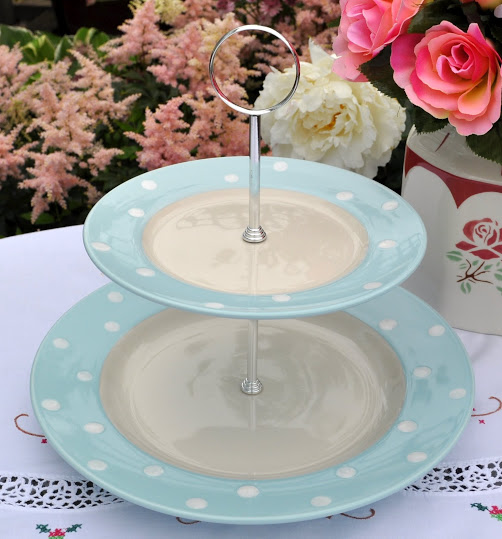 Spode Baking Days Pale Blue Spot New Plates 2 Tier Cake Stand