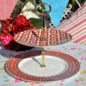 Wedgwood Dynasty Accent Greek Key 2 Tier Cake Stand