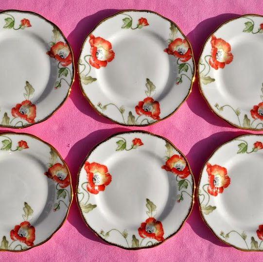 100 Years of Royal Albert 1970's Poppy Pattern Tea Plates x 6