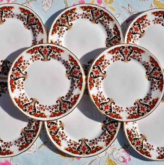 Colclough Royale Vintage China Imari Style Tea Plates Set