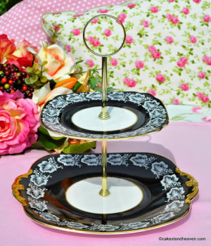 Windsor Black and Gold Vintage 2 Tier Cake Stand