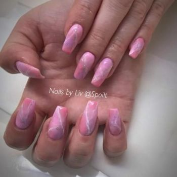 Full set of Acrylic/Gel Sculpted extensions with  Gel Polish
