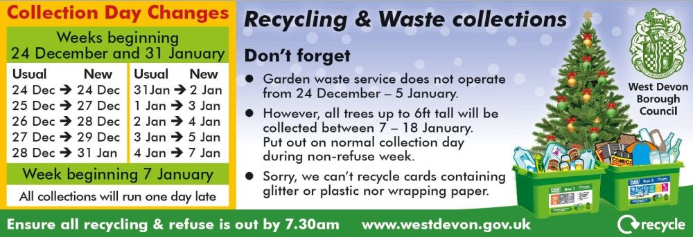 Christmas-New Year West Devon Recycling and Waste Collections