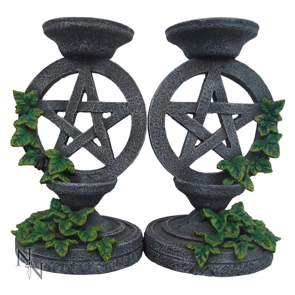Aged Pentagram Candlestick Holders (Set of 2)