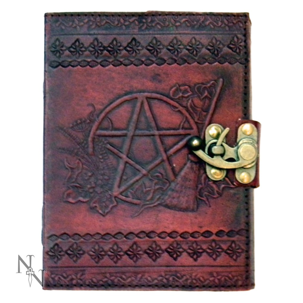 Leather Embossed Pentagram Journal With Lock