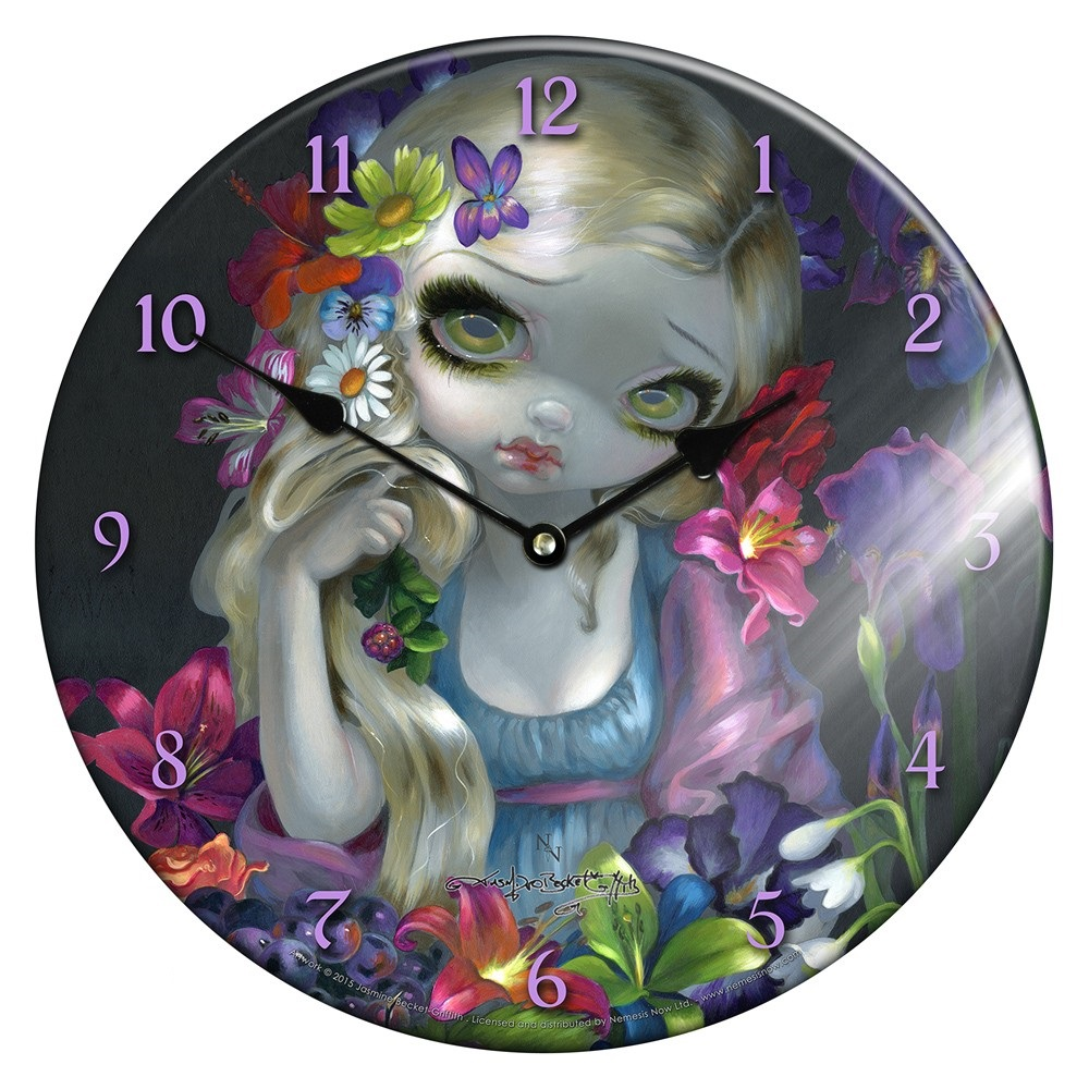Glass Clock Flora