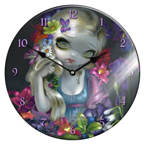 Glass Clock Flora
