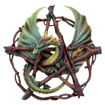 Forest Pentagram Dragon Wall plaque By Anne Stokes