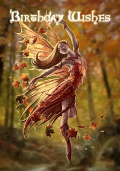 Autumn Fairy Birthday Card By Anne Stokes